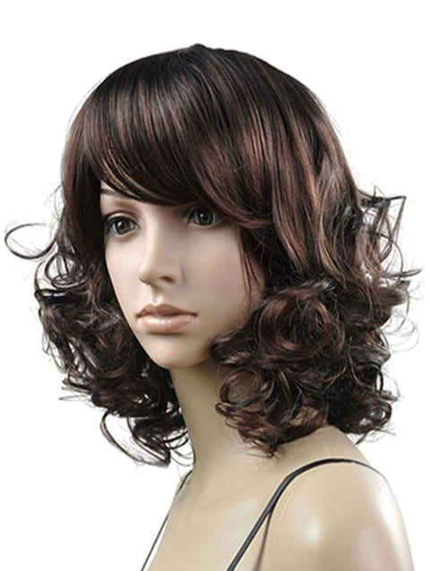 Foxwigs Lace Front Wigs Side Bang Curly Medium Hair Fluffy Wig/Free Shipping