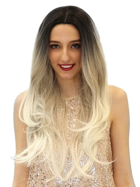 Ladystar Lace Front Wigs Ombre Big Wave Long Center Part Synthetic Wig