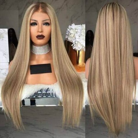 Medium Long Straight Hair Wig Dyed Gradient Wig Set/Free Shipping