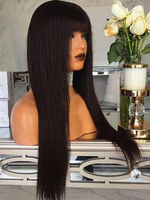 Foxwigs Lace Front Wigs Full Bang Long Straight Capless Hair Wig