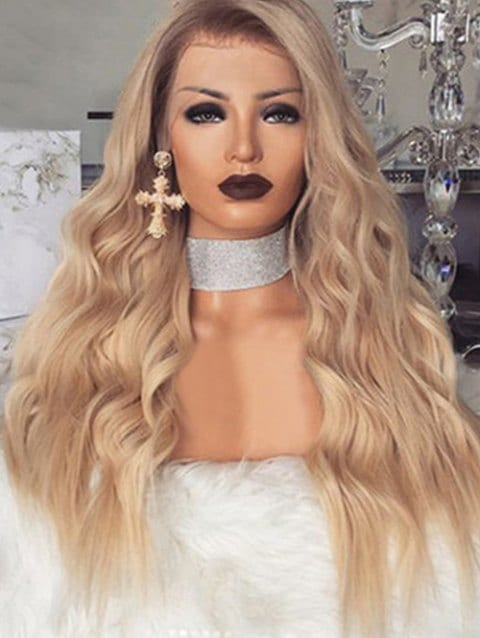 Ladystar Lace Front Wigs Long Wavy Synthetic Center Part Wig with Front Lace