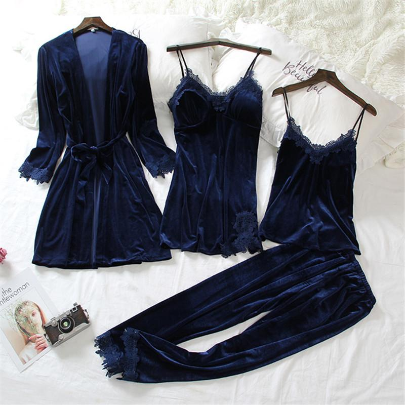 Sleepwear Set 4 Pieces Soft Lace Up Chemise Sleeveless Nighties/Free Shipping