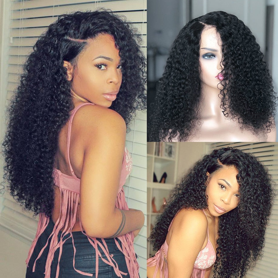 Mellow Pre Plucked Jerry Curly Lace Front Wig With Baby Hair 150% Density Natural Black Malaysian Non Remy Human Hair Wigs