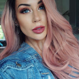 Blush Pink Long Synthetic Lace Front Wig/Free Shipping