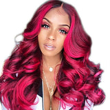 Wig kinky Straight Style Middle Part Capless Wig Red Dark