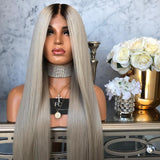 Ombre fashion women's front lace wigs synthetic wigs long straight hairpieces