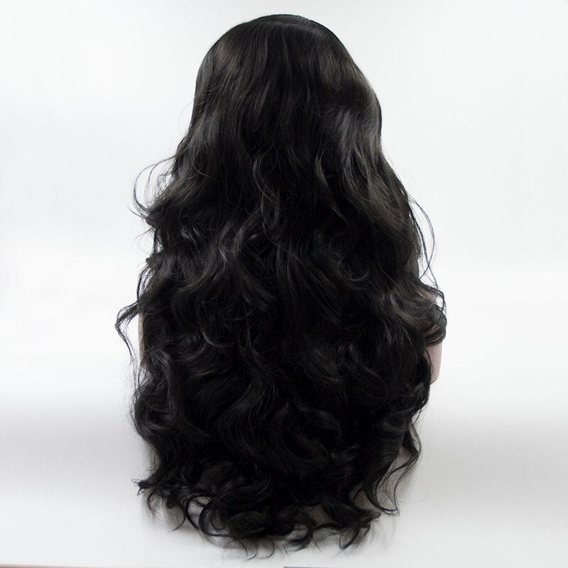 Fantasy Beauty Long Body Wave Swiss Natural Black Synthetic Lace Front Wig Natural Hairline Heat Resistant Fiber Lace wigs/Free Shipping