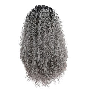 Natural Curly Lace Front Synthetic Wig Women Long Gradient Grey Wave Wavy Wigs/Free Shipping