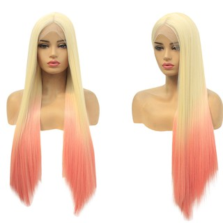 Women's Fashion Front lace Wig Long Wave Gradie Natural Looking Women straig Wig