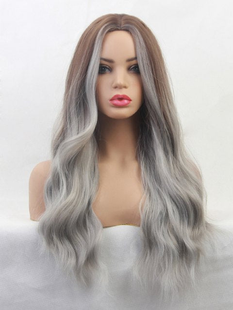 Ladystar Lace Front Wigs Gradient Body Wave Long Center Part Synthetic Wig