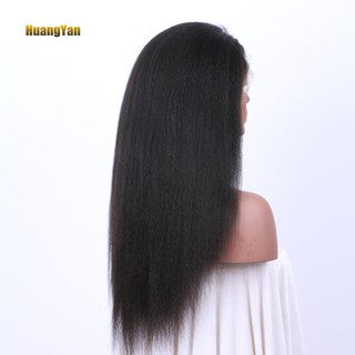 HY Kinky Yaki Straight Lace Front Long Wig Women Girl Natural Looking Party Wig