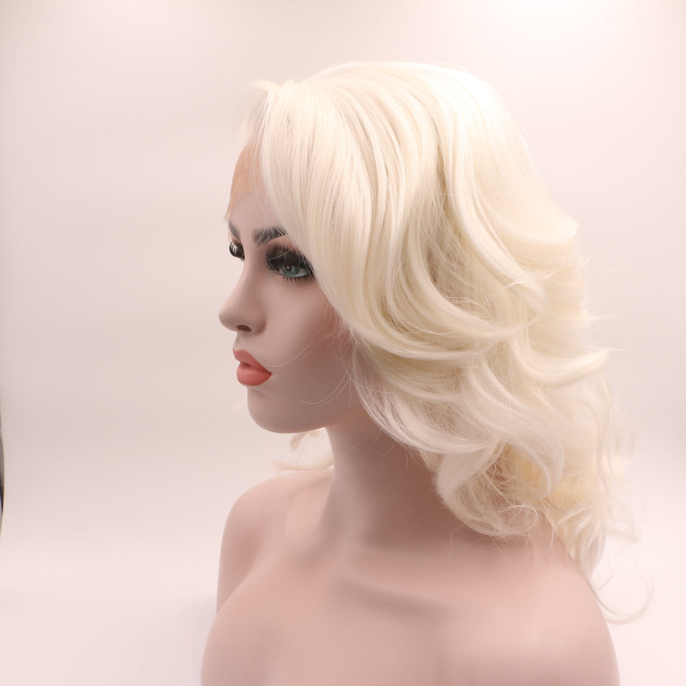 Ladiesstar Natural Looking Half Hand Tied Platinum Blonde Heat Resistant Fiber Synthetic Lace Front Blonde Bob Wig For Women