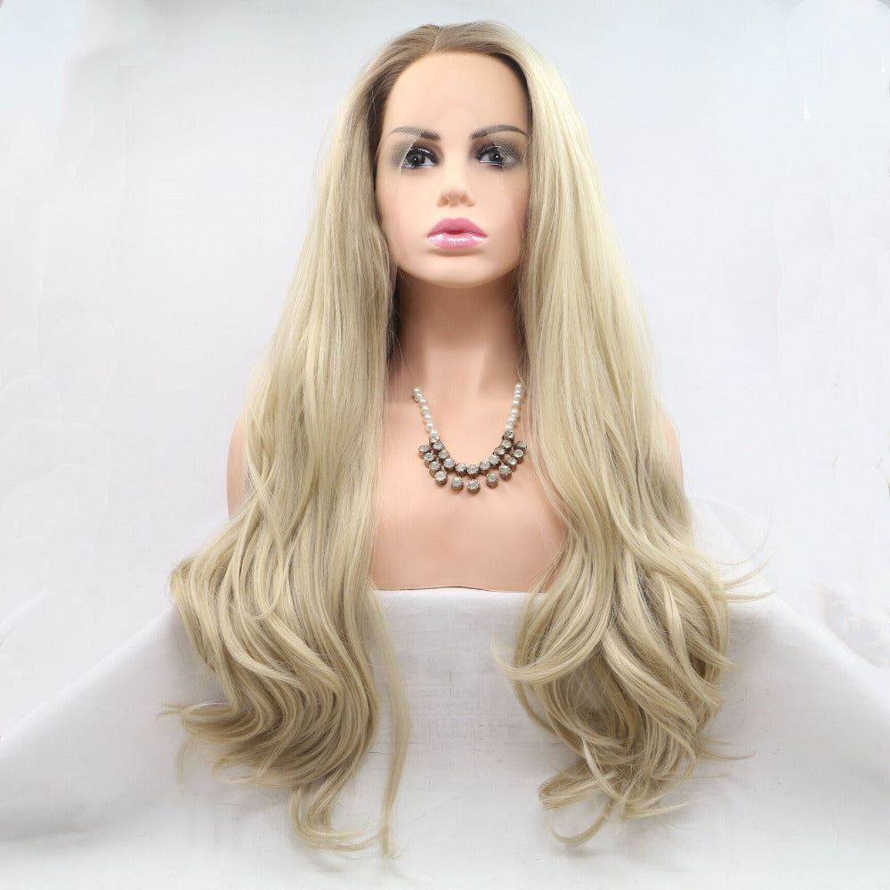Ladiesstar Natural Looking Half Hand Tied Long Wavy Heat Resistant Fiber Synthetic Dark Root Lace Front Ombre Blonde Wig/Free Shipping