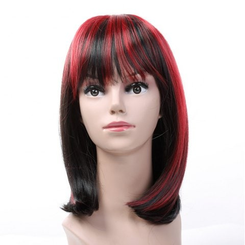 Short Hair Female Black Gradient Wine Red Star Hairstyle Wig/Free Shipping