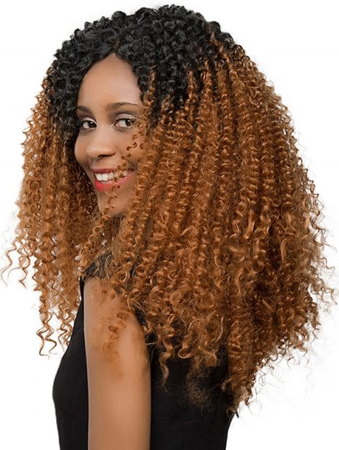 Ladystar Lace Front Wigs Gradient Jerry Curly Long Synthetic Wig