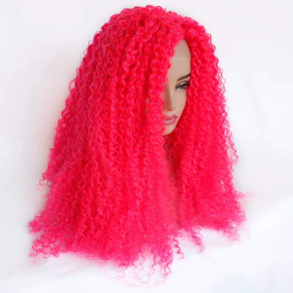 Ladiesstar Heat Resistant Fiber Hair Synthetic Wig Hot Pink Kinky Curly Synthetic Lace Front Wigs for Black Women/Free Shipping