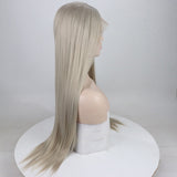 Ladiesstar Realistic Wigs for Women Light Grey Natural Straight Long Synthetic Hair Heat Safe Glueless Lace Front Wig/Free Shipping