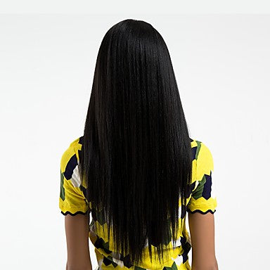 Straight Style Side Part Lace Front Wig Black Natural Black Synthetic Hair/Free Shipping