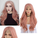 Natural Curly Lace Front Synthetic Wig Sexy Women Long Pink Wave Wavy Wigs