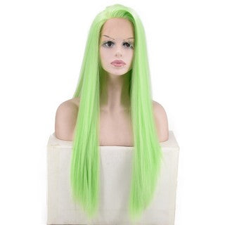 Women's Fashion   Front lace Wig Gree Synthetic Hair Long Wigs Wave straight Wig