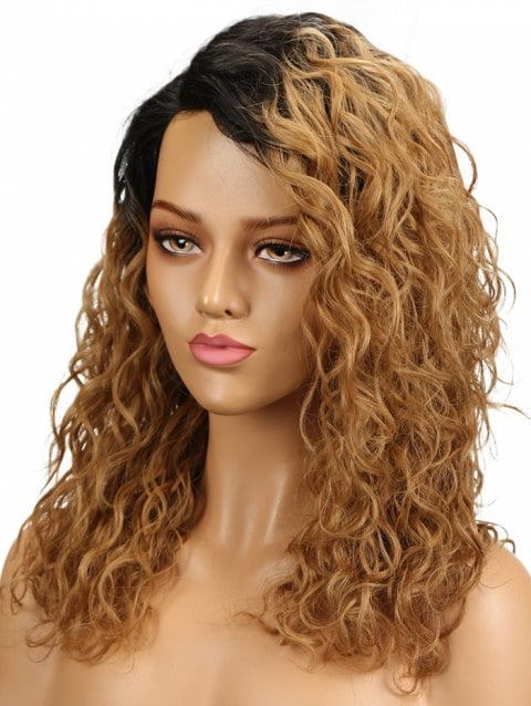 Foxwigs Lace Front Wigs Long Colormix Side Parting Wavy Capless Hair Wig