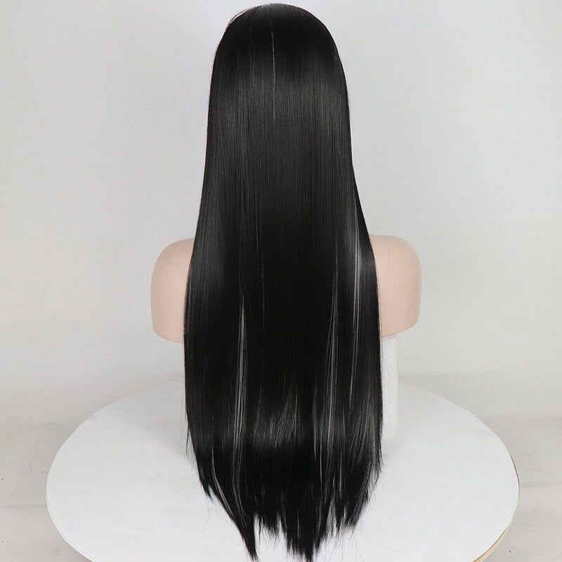 Fantasy Beauty Straight Long Black Wig Middle Part Synthetic Hair Full Wig Heat Resistant Fiber Wigs for Black Women/Free Shipping