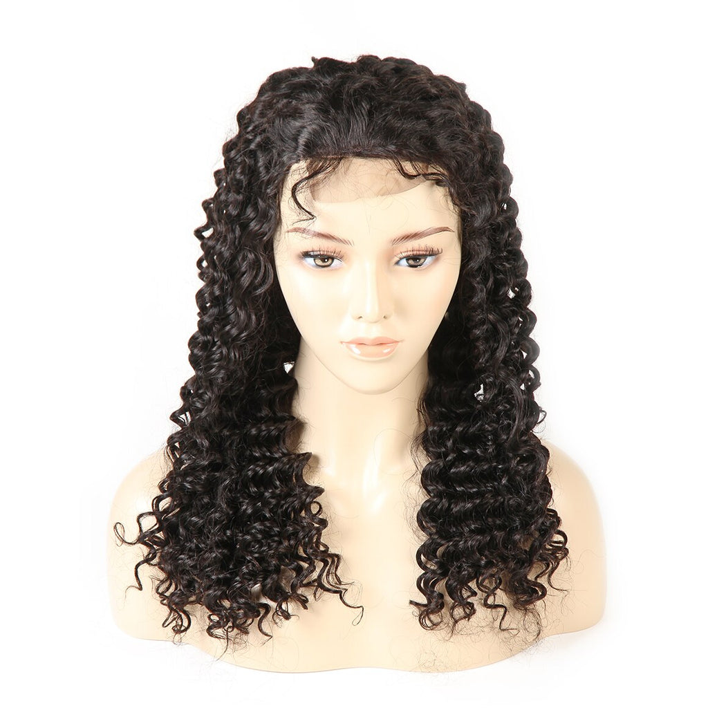Mellow Deep Wave Mongolian Human Hair Wigs Lace Frontal Wig With Baby Hair Pre-Plucked Non Remy Hair 150% Density Natural Black