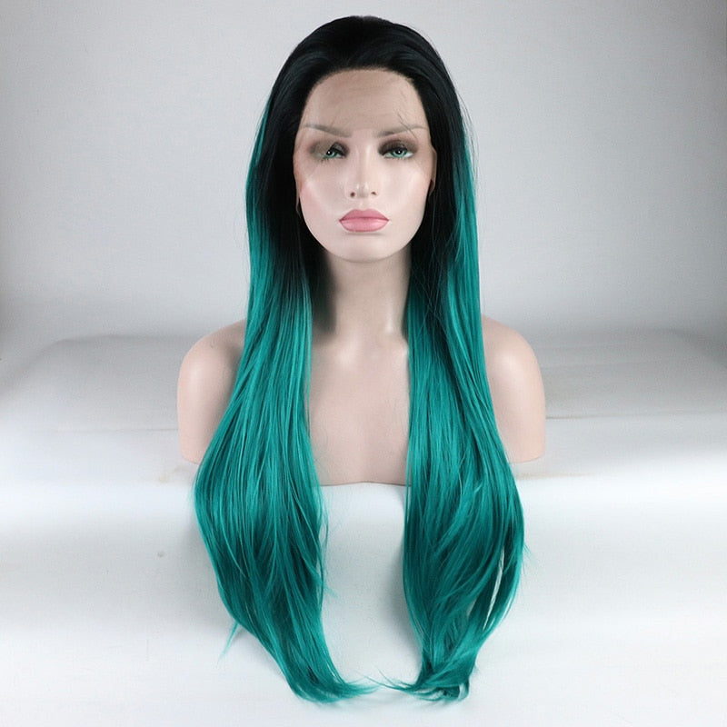 Ladiesstar Realistic Looking Light Wavy Heat Resistant Fiber Replacement Ombre Blue Synthetic Lace Front Wig For Women