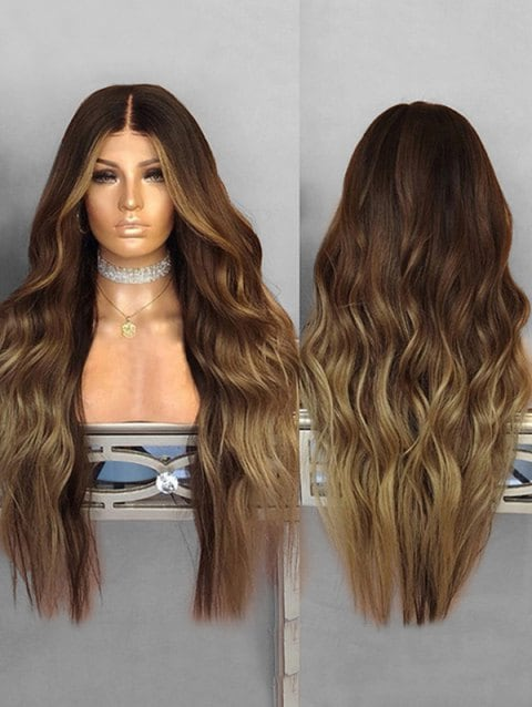 Ladystar Lace Front Wigs Wavy Center Part Long Ombre Synthetic Wig