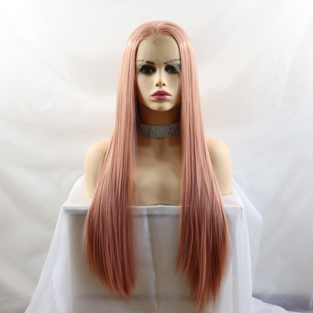 Ladiesstar Realistic Long Straight Peach Pink Natural Looking High Temperature Fiber Synthetic Lace Front Wigs For Women/Free Shipping