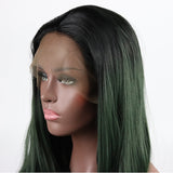 Fantasy Beauty Green 2T Ombre Body Wave Synthetic Lace Front Wigs with Dark Roots Half Hand Tied Heat Resistant Fiber Hair