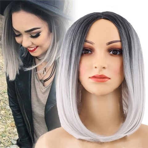 Medium Black Gradient White Star Wig/Free Shipping