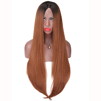Brown Synthetic Hair Natural Hairline Brown Wig Long Natural Wigs