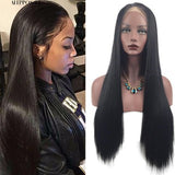 Heat Resistant Synthetic Lace Front Ombre Wigs Long Straight Bob Black Pink Wigs
