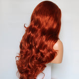 Fantasy Beauty 350# Color Copper Red Body Wave Wig Synthetic Lace Front Wigs for Women Heat Resistant Fiber Hair Wigs/Free Shipping