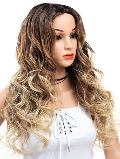 Foxwigs Lace Front Wigs Middle Part Long Colormix Hair Wavy Wig