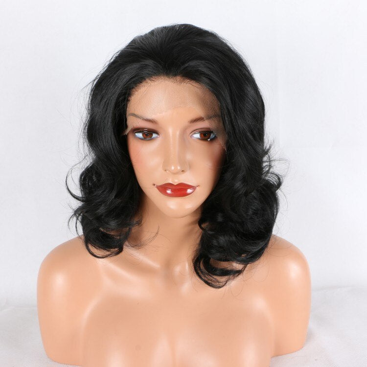Fantasy Beauty Black Short Bob Lace Front Wigs for Women Natural Looking Glueless Half Hand Tied Short Wavy Synthetic Wig
