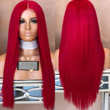 Center Parting Long Straight Synthetic Party Wig - Chestnut Red
