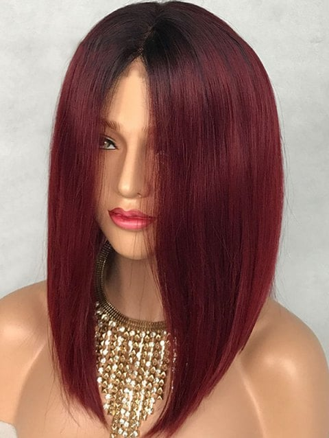 Medium Colormix Party Straight Synthetic Lace Front Wig/Free Shipping