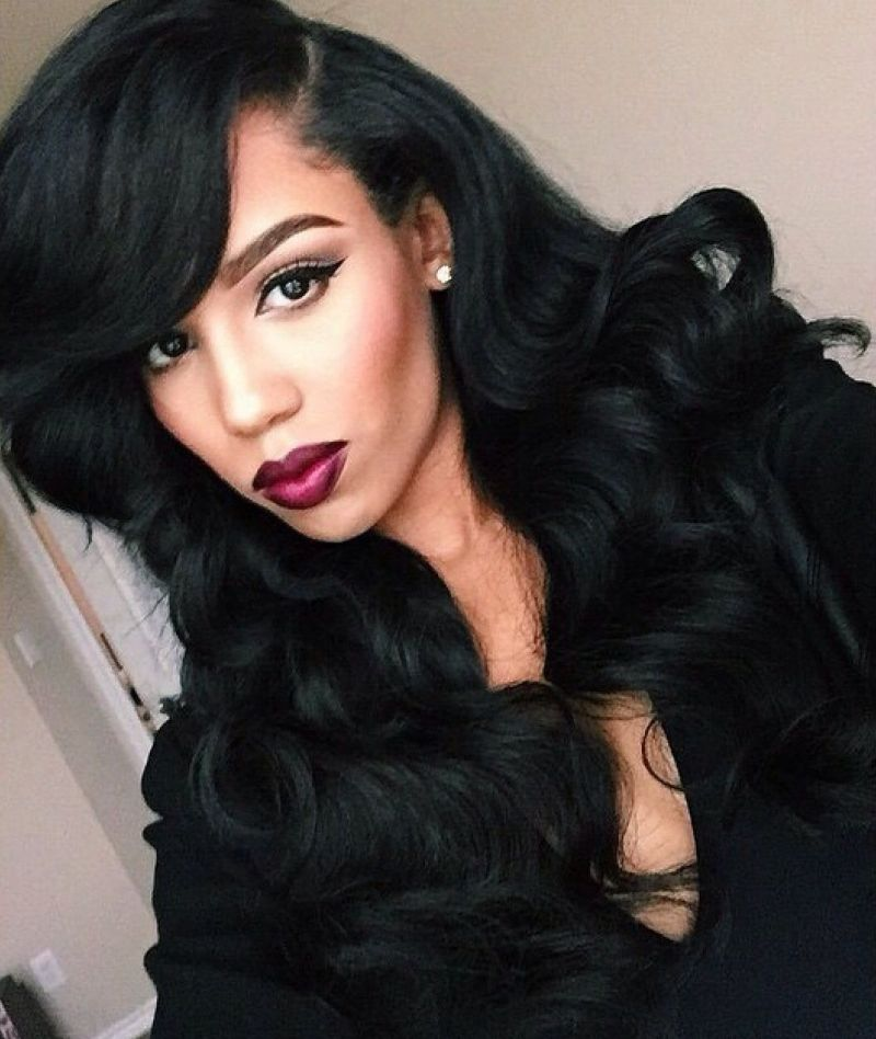 Loose Wave Style Lace Front Wig Black Dark Black Synthetic Hair