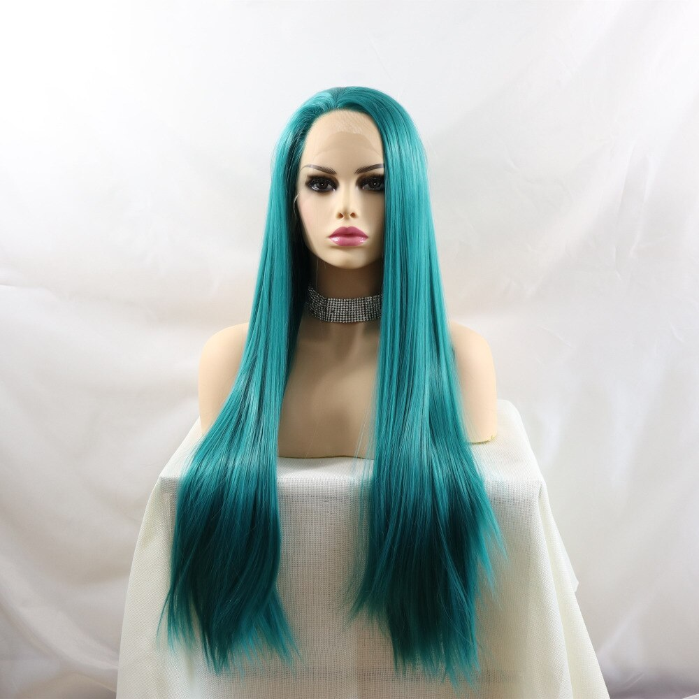 Ladiesstar  Synthetic Lace Front Blue Wig Realistic Looking Long Straight Heat Resistant Fiber Wigs For Women