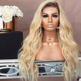 Honey Blonde Lace Frontal Wig Ombre Color Dark Root Loose Wave 150% Density for Women