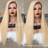 Ombre Blonde Lace Front Wig Dark Roots Silky Straight Lace Front Wig/Free Shipping
