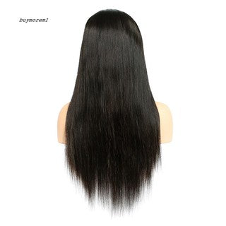 BUYME Fashion Women Front Lace Black Long Straight Hair Centre Parting Full Wigs/Free Shipping