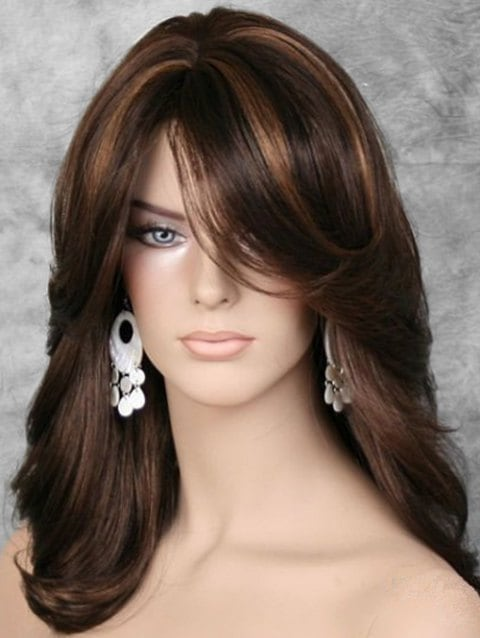 Fluffy Side Bang Straight Long Synthetic Wig