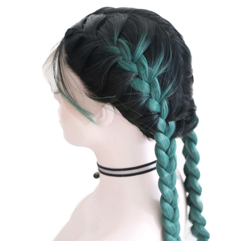 New Wig Fashion Middle Score Long Straight Green Hair Multicolor Optional Braided Wig