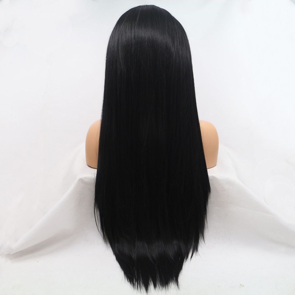 Ladiesstar Long Straight Black Synthetic Lace Front Wigs For Women Replacement Fashion Wigs