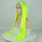 Ladiesstar Bright Yellow Long Straight Synthetic Lace Front Fluorescence Wigs Natural Looking Lace Wig For Fashion Women/Free Shipping