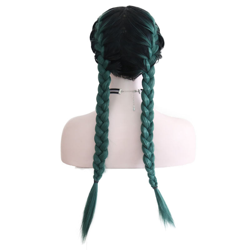 New Wig Fashion Middle Score Long Straight Green Hair Multicolor Optional Braided Wig/Free Shipping