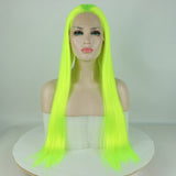 Ladiesstar Bright Yellow Long Straight Synthetic Lace Front Fluorescence Wigs Natural Looking Lace Wig For Fashion Women